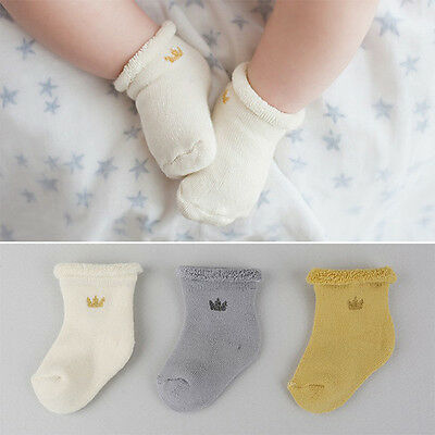 3Pairs/Lot Baby Socks Ankle Length Cotton Calcetines Crown Girls Boys Kids Socks