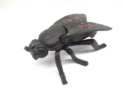 Vintage Cast Iron Fly 8 Match Safe Trinket Box Hinged Wings Paperweight Paint