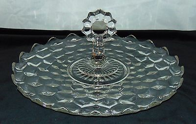 "Fostoria AMERICAN CRYSTAL*12"" SANDWICH TRAY w/CENTER HANDLE*"