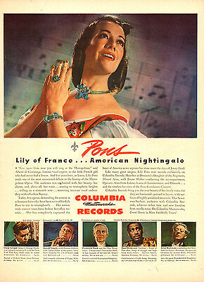 1945 vintage Opera AD  COLUMBIA RECORDS  LILI PONS PAUL ROBERSON Nice !  020415