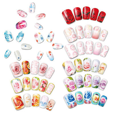 ES_ 12 Designs/Set Water Transfer Rose Flower Decals Nail Art Sticker DIY Decor