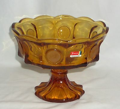 "Fostoria COIN FROSTED AMBER *8 1/2"" FOOTED BOWL w/STICKER*"