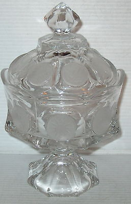 "Fostoria COIN FROSTED CRYSTAL *8 1/2"" WEDDING BOWL W/COVER*"