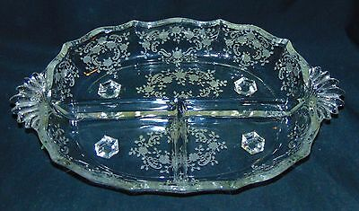 "Fostoria MEADOW ROSE CRYSTAL *10"" 3 PART RELISH*"
