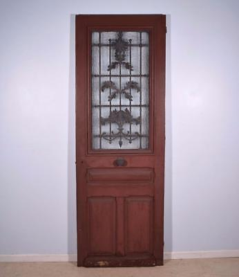 "Antique French 101"" Solid Oak Door with Iron Grille and Hinged Window"