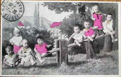 Multiple Baby 1906 Postcard: Babies on a Seesaw, Playground