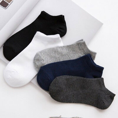 20Pair Mens Cotton Sport Short Soild Ankle Socks Casual Low Cut Non-Slip Hosiery
