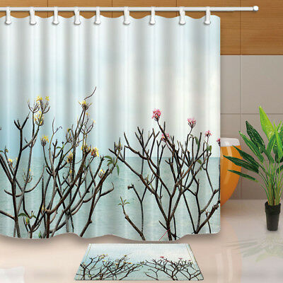 Flower Branch At Seaside Shower Curtain Set Waterproof Fabric 71Inch With Hooks