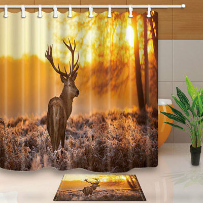 Reindeer In Wild At Sunset Shower Curtain Set Waterproof Fabric & Hook 71Inch