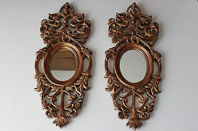 Pair Of French Rococo Hand Carved Gilt Wood Wall Mirror