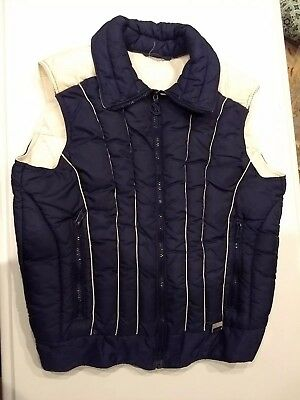 VTG White Stag Mountain Goat 70s Puffer Vest Poly/ Down Women Sz L Navy & White