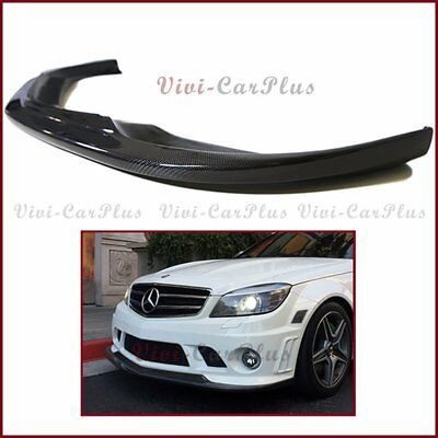 Carbon Fiber AK Style Front Bumper Extended Lip For 08-11 W204 C63AMG Sedan ONLY