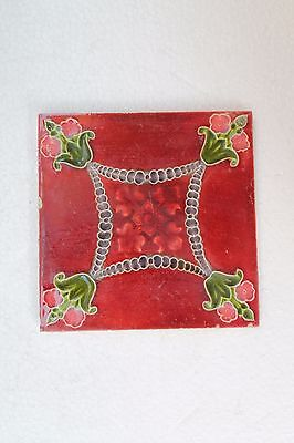 Antique Old Pink Flower Design Architectural Ceramic Tile Made In England NH3287