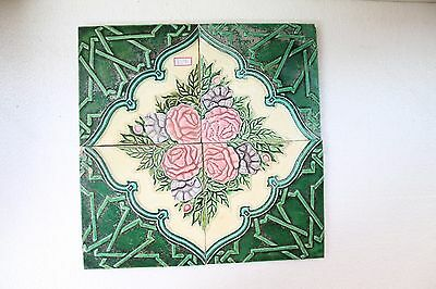 "Antique ""Set Of 4 Pc"" Majolica Flower Design Architectural Beautiful Tile NH3291"