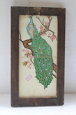 Antique Old Very Beautiful Collectible Peacock Tiles (Made In England) Nh2879