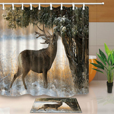 Elk Look up to Eat Snow On Tree Shower Curtain Waterproof Fabric & Hook 71""