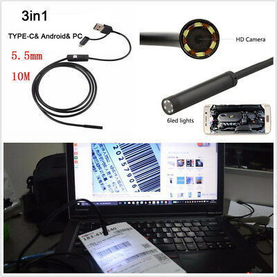 5.5mm 10M Car Endoscope HD 3 IN 1 USB 6 LED Android Inspection Camera Waterproof