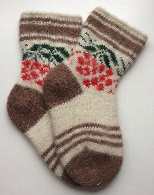 Knitted Sheep wool Kids socks Thick warm winter Brown Red White ( Age 6-7 )