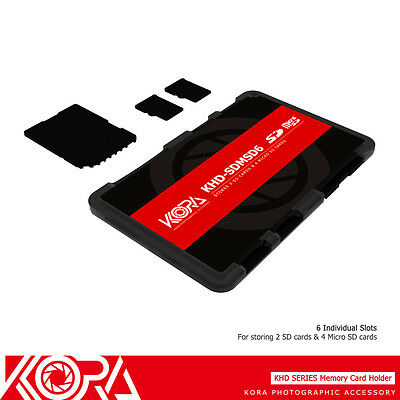 KORA Ultra Slim Wallet Memory Card Holder Fit 2 SD+4 Micro SD Cards Compact Case