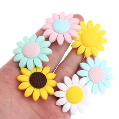 Silicone Beads Pendant Baby Teether Sunflower DIY Necklace Safety Teething Decor
