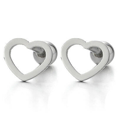 Womens Girls Stainless Steel Flat Open Heart Stud Earrings, Screw Back, 2Pcs