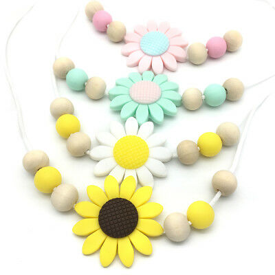 Round Teething Beads Sunflower Silicone Teether Necklace Baby Sensory Jewellery