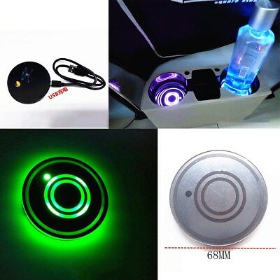 2x Cup Holder Waterproof Bottom Pad LED Light Cover Trim Atmosphere Lamp For Car