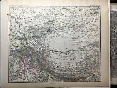 Lg. Antique PERTHES 1875 Map of Western CHINA, Tibet, Nepal, Gobi Desert Everest