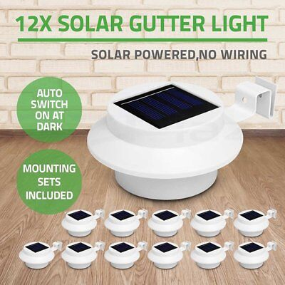 12x 3 LED Solar Power Gutter Fence Lights Outdoor Garden Yard Wall Pathway