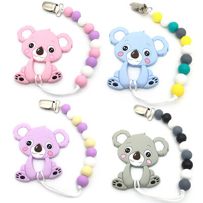 Silicone Teething Beads Pacifier Clip Chain Baby Chewable Koala Teether Pendant