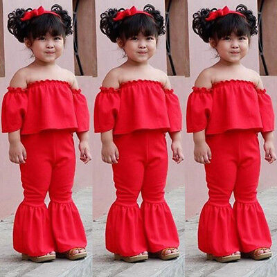 US Newborn Girl Fashion Clothes OUtfit Off Shoulder Top+Bell-Bottom Pants Cotton