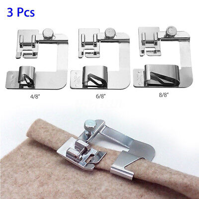 3x Rolled Hem Foot Home Sewing Machine Hemming Cloth Strip Presser Feet Metal