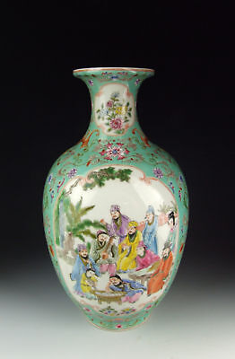 Chinese Antique Famille Rose Porcelain Vase w Immortal Beings