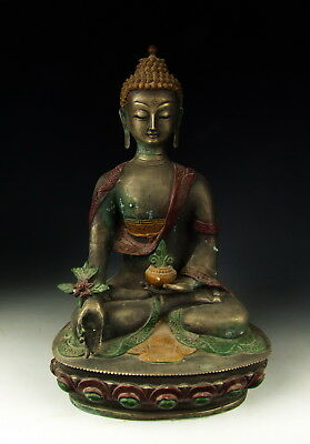 Chinese Antique Painted Tin Tibetan Buddha Statue