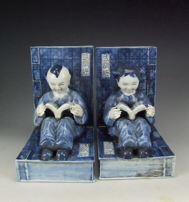 Amazing Pair of China Antique Blue&White Porcelain Boy&Girl