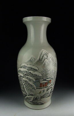 Chinese Antique Famille Rose Porcelain Vase with snow scene