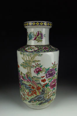 Chinese Antique Famille Rose Porcelain Vase w Flower and Bird