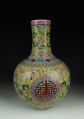 Chinese Antique Famille Rose Porcelain Vase w Longevity Pattern