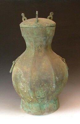 One Nice Bronze Octagonal Handled Hu Wine Vessel