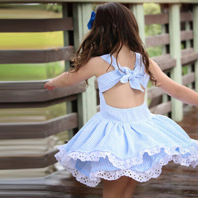 Toddler Kids Girl Summer Clothes Stripe Lace Party Pageant Princess Dresses Gift