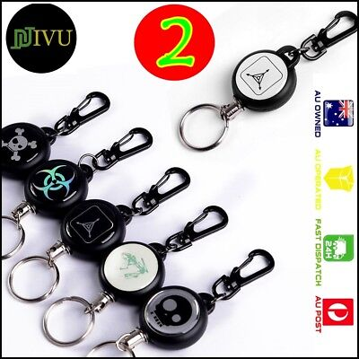 2 x Metal Steel Recoil Retractable Key Ring Pull Chain Card Badge Belt Clip Reel