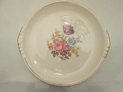 CAKE PLATE! Vintage PADEN CITY china: TULIP pattern gold trim: EXCELLENT!