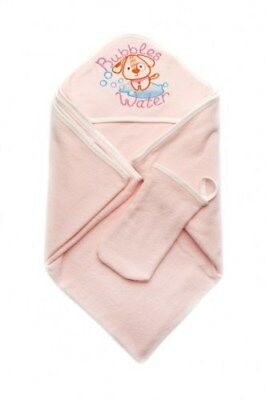 Baby Hooded Towel Infant Gift Pink Blue Soft Cotton Blanket with Bath Mitten