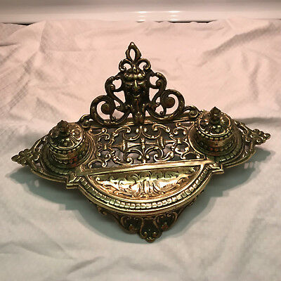 Victorian Style Cast Brass Double Inkwell made in Japan
