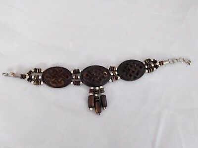 Vintage Beautiful Unsigned Ceramic/Glass African-Style Bracelet