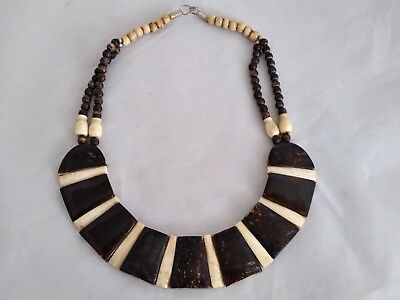Vintage Beautiful Unsigned Ceramic/Glass African-Style Choker Necklace