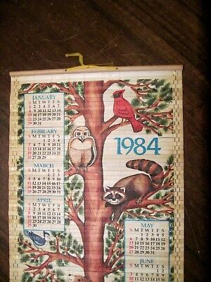 "VTG Giftco 1984 Bamboo Scroll Roll Kitchen Wall Calendar 4 Seasons 32.5"" X 12.5"""
