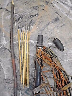 Vintage African Tribal Leather Bow and Bamboo Arrows & Leather Quiver