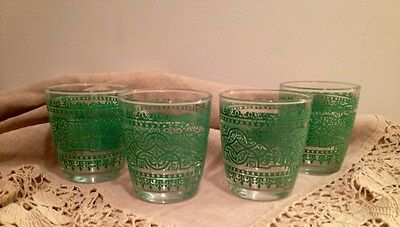 4 Vintage Heavy Raised Lace Floral Libbey Drinking Glass Cottage Decor Shabby