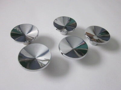 "5 Vintage Mid Century Modern Retro Chrome Drawer Pulls Knobs 2"" Round"